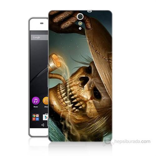 Teknomeg Sony Xperia C5 Pipolu Kurukafa Baskılı Silikon Kılıf