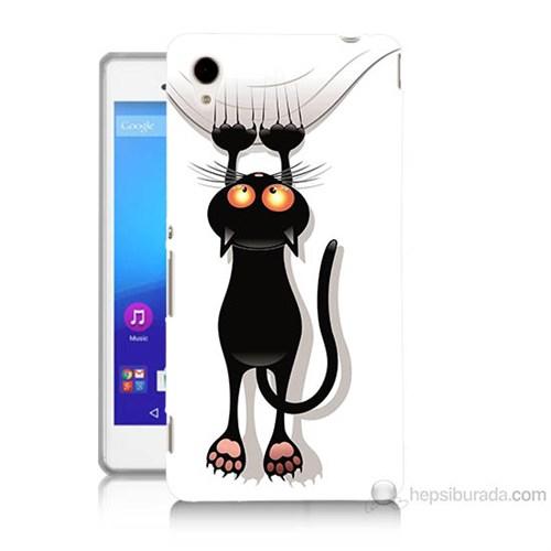 Teknomeg Sony Xperia M4 Kara Kedi Baskılı Silikon Kılıf