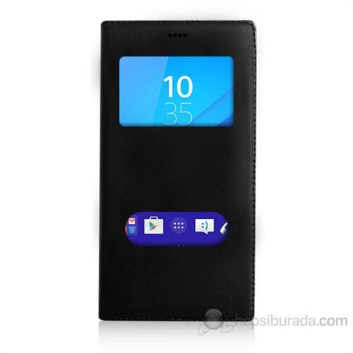Teknomeg Sony Xperia M4 Aqua Siyah Pencere Ve Gizli Mıknatıslı
