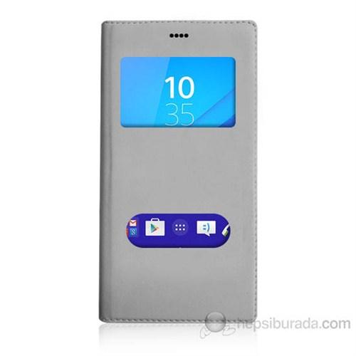 Teknomeg Sony Xperia M4 Aqua Beyaz Pencere Ve Gizli Mıknatıslı