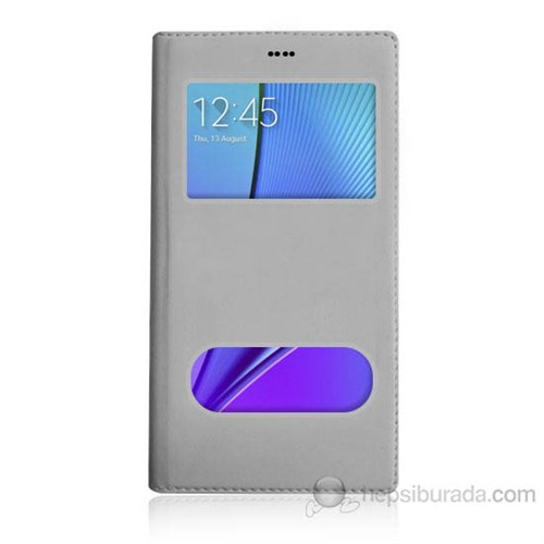 Teknomeg Samsung Note 5 Beyaz Pencere Ve Gizli Mıknatıslı