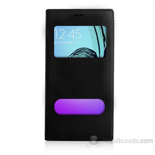 Teknomeg Samsung Galaxy A7 2016 Siyah Pencere Ve Gizli Mıknatıslı