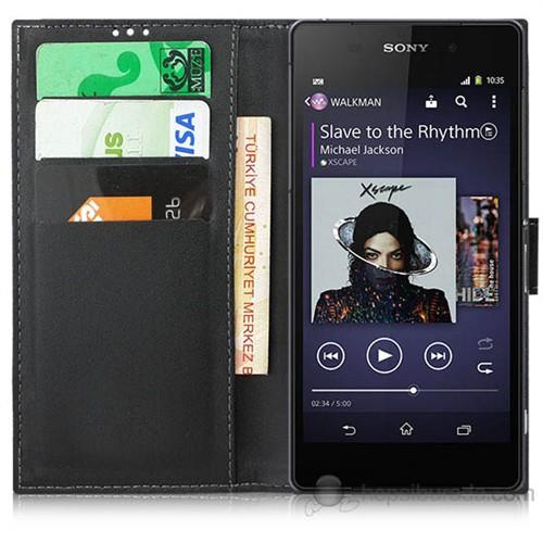 Teknomeg Sony Xperia Z1 Siyah Cüzdan Kılıf Siyah