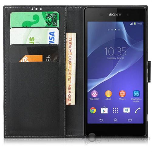 Teknomeg Sony Xperia Z2 Siyah Cüzdan Kılıf Siyah