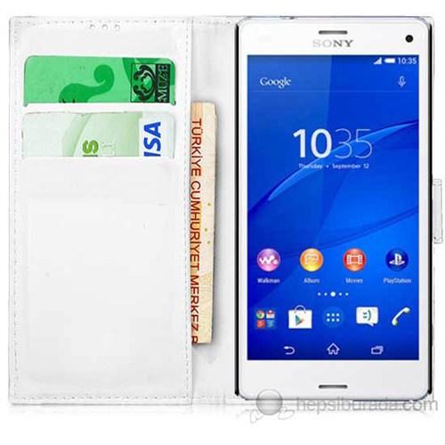 Teknomeg Sony Xperia Z3 Mini Beyaz Cüzdan Kılıf Beyaz