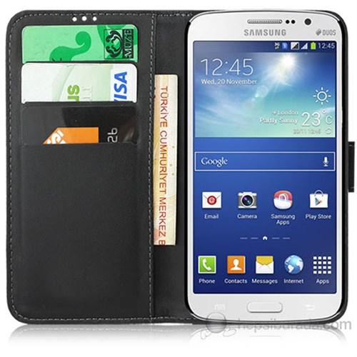 Teknomeg Samsung Galaxy Grand 2 Siyah Cüzdan Kılıf Siyah