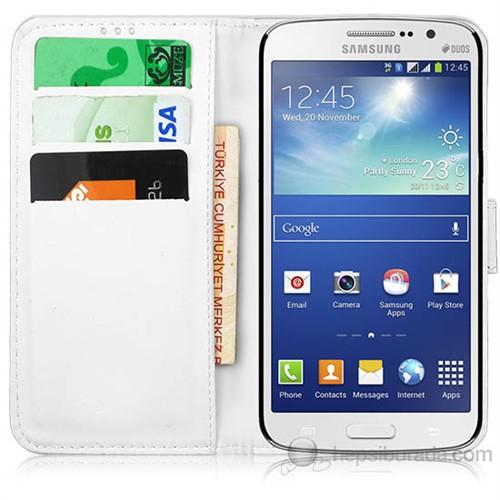 Teknomeg Samsung Galaxy Grand 2 Beyaz Cüzdan Kılıf Beyaz
