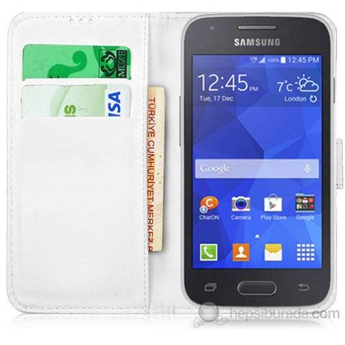 Teknomeg Samsung Galaxy Ace 4 Beyaz Cüzdan Kılıf Beyaz