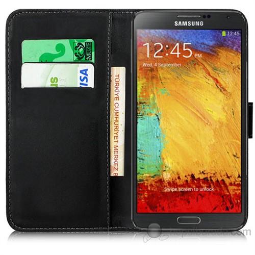 Teknomeg Samsung Galaxy Note 3 Siyah Cüzdan Kılıf Siyah
