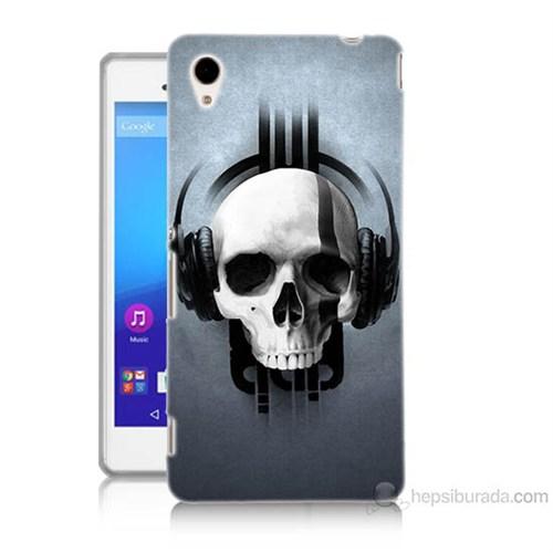 Teknomeg Sony Xperia M4 Müzik Dinleyen Kurukafa Baskılı Silikon Kılıf