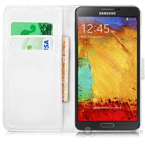 Teknomeg Samsung Galaxy Note 3 Beyaz Cüzdan Kılıf Beyaz