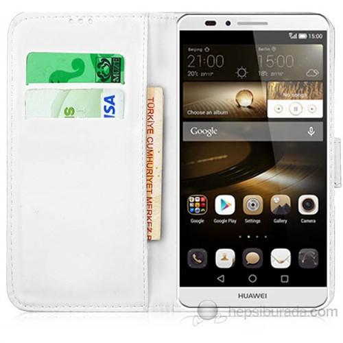 Teknomeg Huawei Mate 7 Beyaz Cüzdan Kılıf Beyaz