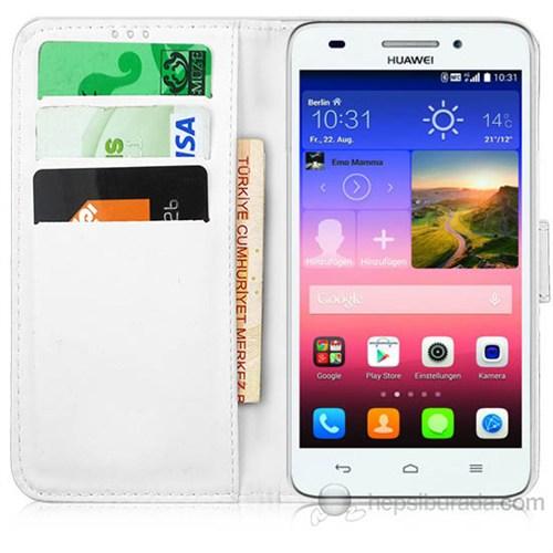 Teknomeg Huawei G7 Beyaz Cüzdan Kılıf Beyaz