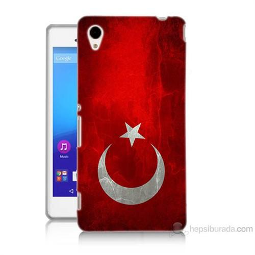 Teknomeg Sony Xperia M4 Türkiye Bayrağı Baskılı Silikon Kılıf