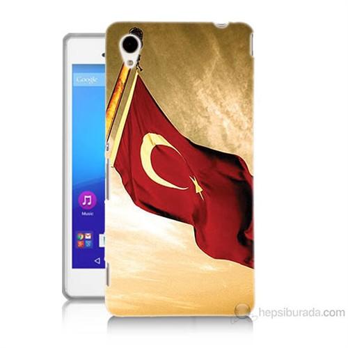 Teknomeg Sony Xperia M4 Türk Bayrağı Baskılı Silikon Kılıf