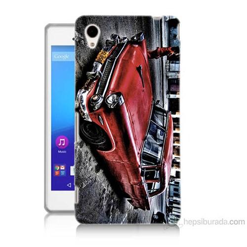 Teknomeg Sony Xperia M4 Klasik Araba Baskılı Silikon Kılıf