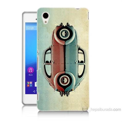 Teknomeg Sony Xperia M4 Aqua Mavi Kırmızı Wolkswagen Baskılı Silikon Kılıf