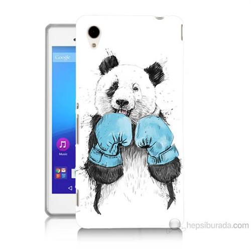 Teknomeg Sony Xperia M4 Aqua Boksör Panda Baskılı Silikon Kılıf