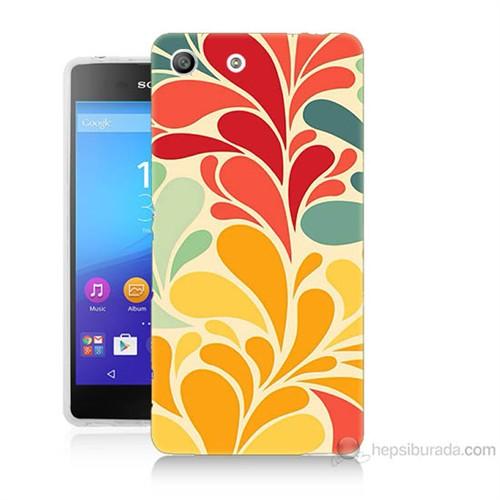 Teknomeg Sony Xperia M5 Çiçekler Baskılı Silikon Kılıf