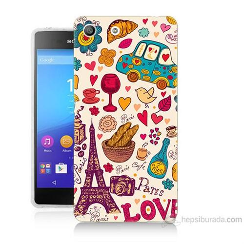 Teknomeg Sony Xperia M5 Paris Love Baskılı Silikon Kılıf