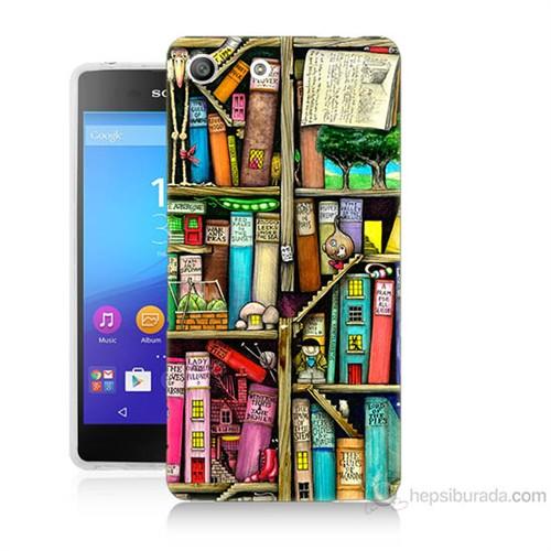 Teknomeg Sony Xperia M5 Kitaplık Baskılı Silikon Kılıf