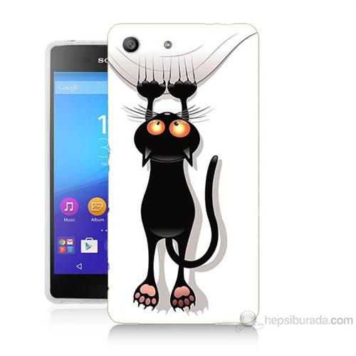 Teknomeg Sony Xperia M5 Kara Kedi Baskılı Silikon Kılıf