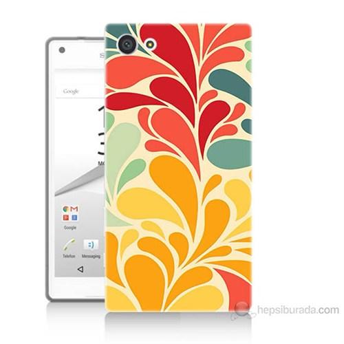 Teknomeg Sony Xperia Z5 Çiçekler Baskılı Silikon Kılıf