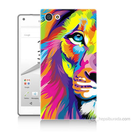 Teknomeg Sony Xperia Z5 Renkli Aslan Baskılı Silikon Kılıf