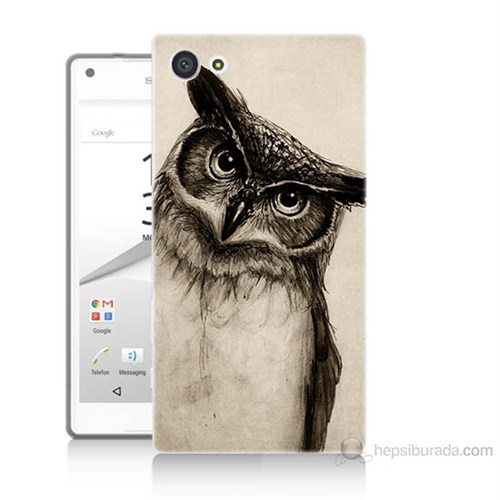 Teknomeg Sony Xperia Z5 Düşünen Baykuş Baskılı Silikon Kılıf