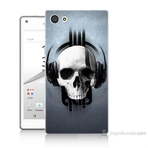 Teknomeg Sony Xperia Z5 Müzik Dinleyen Kurukafa Baskılı Silikon Kılıf