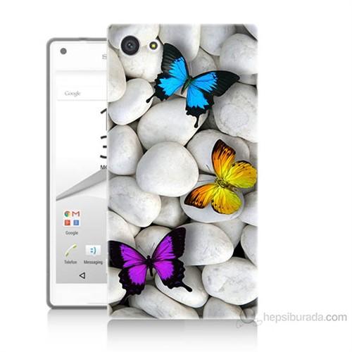 Teknomeg Sony Xperia Z5 Kelebekler Baskılı Silikon Kılıf