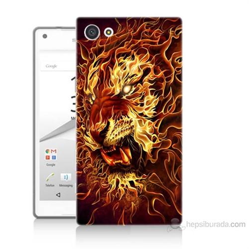 Teknomeg Sony Xperia Z5 Ateşli Aslan Baskılı Silikon Kılıf