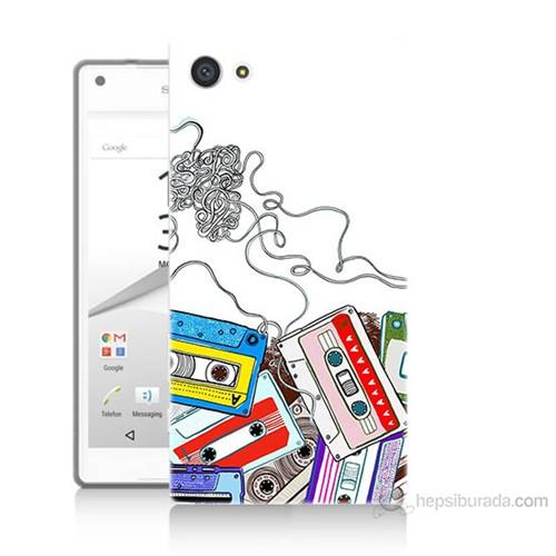 Teknomeg Sony Xperia Z5 Mini Kasetler Baskılı Silikon Kılıf