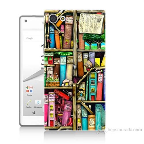 Teknomeg Sony Xperia Z5 Mini Kitaplık Baskılı Silikon Kılıf