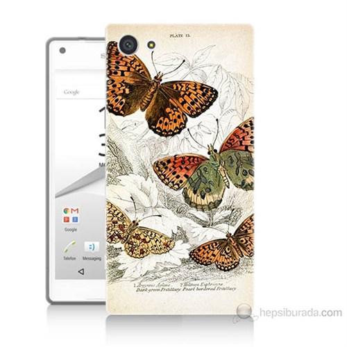 Teknomeg Sony Xperia Z5 Mini Kelebekler Baskılı Silikon Kılıf