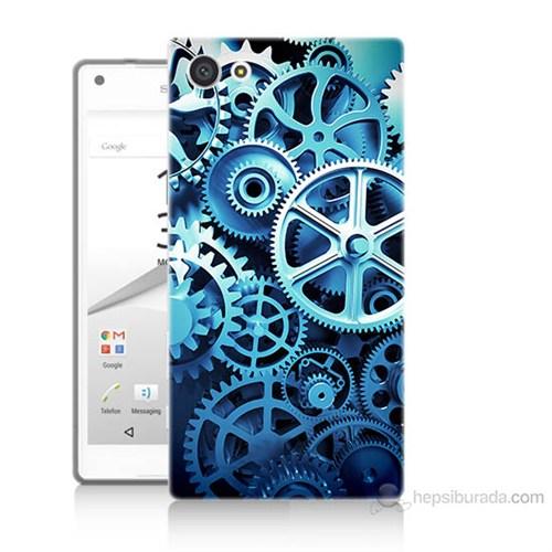 Teknomeg Sony Xperia Z5 Mini Çarklar Baskılı Silikon Kılıf
