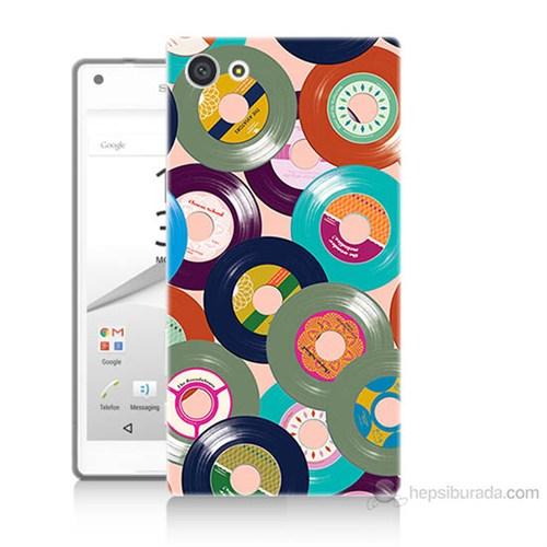 Teknomeg Sony Xperia Z5 Mini Renkli Plaklar Baskılı Silikon Kılıf