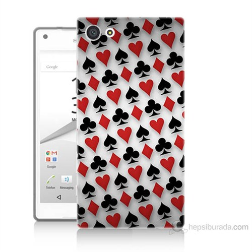 Teknomeg Sony Xperia Z5 Mini Kupa Maça Sinek Karo Baskılı Silikon Kılıf