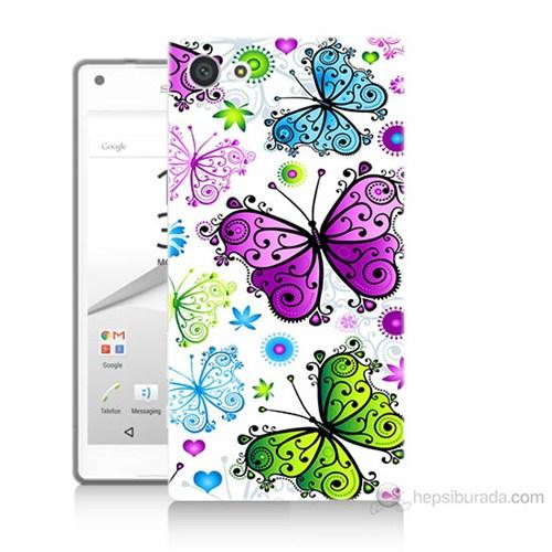 Teknomeg Sony Xperia Z5 Mini Renkli Kelebekler Baskılı Silikon Kılıf