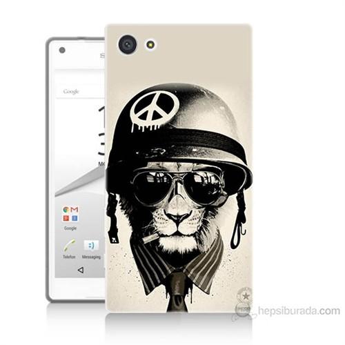 Teknomeg Sony Xperia Z5 Mini Barışçı Aslan Baskılı Silikon Kılıf