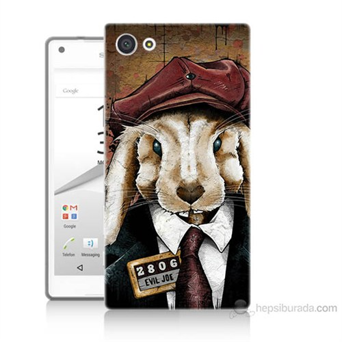 Teknomeg Sony Xperia Z5 Mini Kötü Tavşan Baskılı Silikon Kılıf