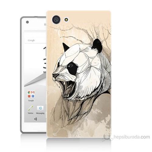 Teknomeg Sony Xperia Z5 Mini Kavgacı Panda Baskılı Silikon Kılıf