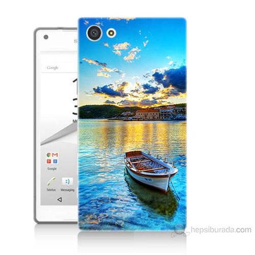 Teknomeg Sony Xperia Z5 Mini Gün Batımında Deniz Baskılı Silikon Kılıf
