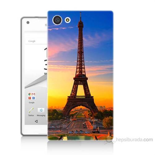 Teknomeg Sony Xperia Z5 Mini Eyfelde Gün Batımı Baskılı Silikon Kılıf