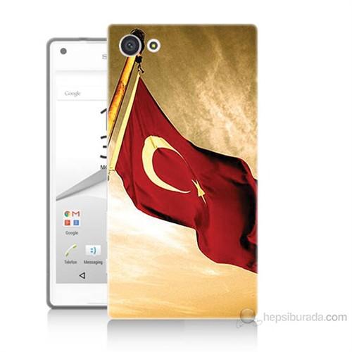 Teknomeg Sony Xperia Z5 Mini Türk Bayrağı Baskılı Silikon Kılıf