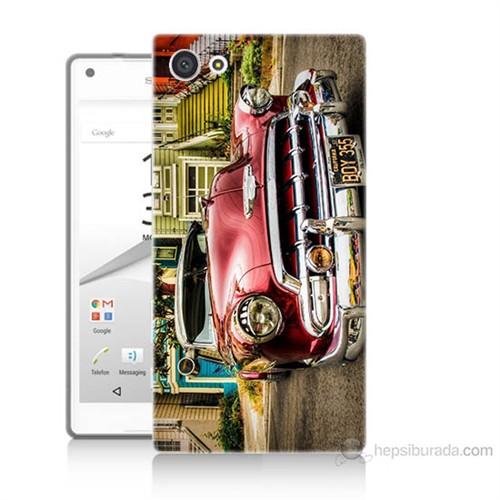 Teknomeg Sony Xperia Z5 Mini Klasik Araba Baskılı Silikon Kılıf