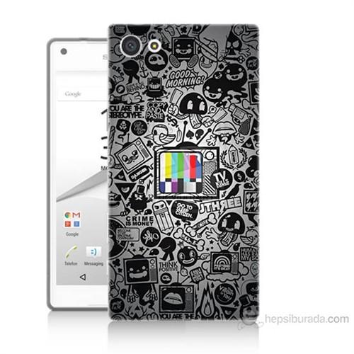 Teknomeg Sony Xperia Z5 Premium Renkli Tv Baskılı Silikon Kılıf