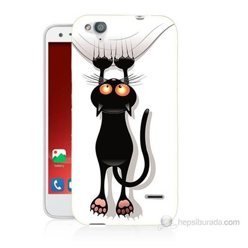 Teknomeg Turkcell T60 Kara Kedi Baskılı Silikon Kılıf