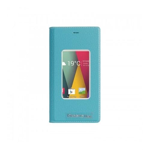 Lopard General Mobile Discovery 2 Mini Pencereli Mavi Dolce Kapaklı Deri Akıllı Kılıf