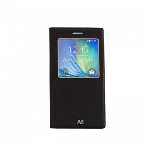 Lopard Samsung Galaxy A5 Pencereli Siyah Dolce Kapaklı Deri Akıllı Kılıf